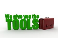 We give you the tools with  a leather bag concept Royalty Free Stock Photo