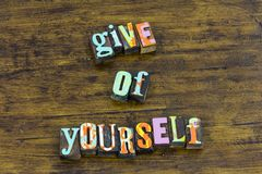 Give yourself receive help kind charity faith kindness stock image