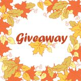 Giveaway banner with autumn leaves. Stock Image