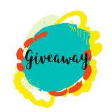 Giveaway banner for special offer on colorful grunge stain.  Stock Image