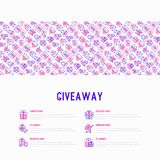 GIveaway or gifts concept with thin line icons. Set: present in hand, trolley, cart, truck, envelope. Modern vector illustration, web page template Royalty Free Stock Image