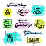 Giveaway handwritten lettering text and bright design elements. Giveaway handwritten in black brush ink lettering text, Give away time, enter to win, and the Stock Photo
