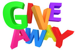 Giveaway multicolour. Word Giveaway made from multicolored letters  on white Stock Images