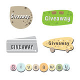 Giveaway. Set of signs with different designs giveaway Stock Illustration