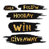 Giveaway and special sale offer with hand drawn lettering with b. Rush texture Royalty Free Stock Photos