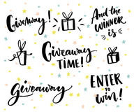 Giveaway text and design elements. Set of handwritten lettering and hand drawn gifts. Social media contest typography Royalty Free Stock Image