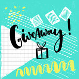 Giveaway word and hand drawn illustration of gift box for social media contests. Brush lettering at playful and colorful Stock Photography