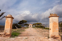Given up Finca farm house in rural Spain. Abandoned ruin of Finca farm house in rural Region of Murcia, Spain royalty free stock image