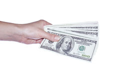 Gives money Stock Photography