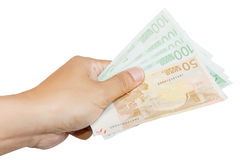 Giving 450 Euros Royalty Free Stock Image