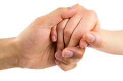 Giving aid. Man hand giving aid to woman on white background stock image