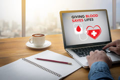GIVING BLOOD SAVES LIFES Blood Donation Give Life Royalty Free Stock Photography