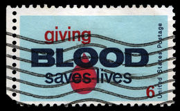 Giving Blood Saves Lives Postage Stamp Royalty Free Stock Photos