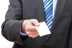 Giving business card. Closeup of hands giving empty business card Stock Photo