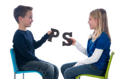Giving Chocolate Letters Royalty Free Stock Photography