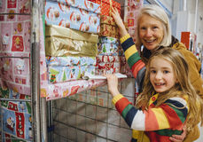 Giving Christmas Charity Donations Stock Photo