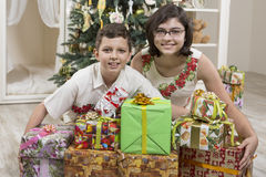 Giving Christmas gifts Royalty Free Stock Photo