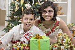 Giving Christmas gifts Stock Photo