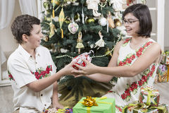 Giving Christmas gifts Royalty Free Stock Images