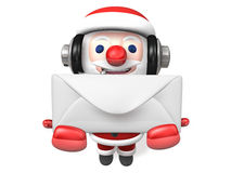 Giving christmas letter of 3d santa Royalty Free Stock Photos