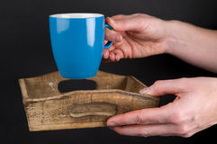 Giving A Cup Of Coffee Stock Photography