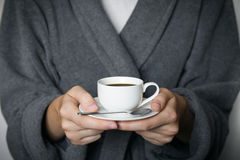 Giving a cup of coffee Royalty Free Stock Photo