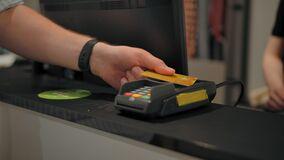 Giving electronic terminal credit and debit cards to pay for the purchase