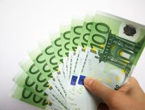 Giving euro money Royalty Free Stock Image