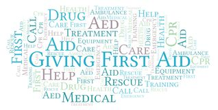 Giving First Aid word cloud, made with text only. Giving First Aid word cloud, made with text only stock illustration
