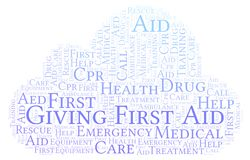 Giving First Aid word cloud, made with text only. Giving First Aid word cloud, made with text only vector illustration