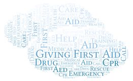 Giving First Aid word cloud, made with text only. Giving First Aid word cloud, made with text only royalty free illustration