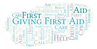 Giving First Aid word cloud, made with text only. stock illustration