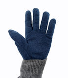Giving five with warm glove. Cropped shot of hand with glove and the open palm to give high five Royalty Free Stock Photo