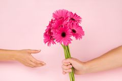 Giving flower. Love. Man giving flower bouguet to woman. Romance and love concept stock image