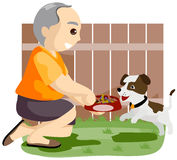 Giving Food to Pet Dog Royalty Free Stock Photo