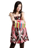 Giving a gift royalty free stock photo