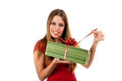 giving gift box Stock Image