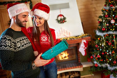 Giving gifts for Christmas Royalty Free Stock Photo