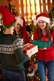Giving gifts for Christmas Stock Photos