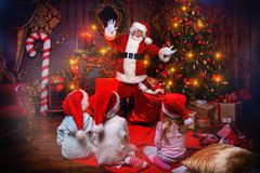 Giving gifts to children royalty free stock photo