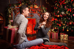 Giving gifts on xmas royalty free stock images