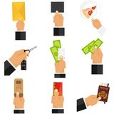 Giving hand. The hand holds the money, the hand gives the object. Flat design,  illustration Stock Photo
