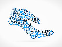 Giving hand. Symbol made out of large group of people Stock Photography