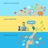 Giving hands horizontal flat banners set Stock Images