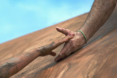 Giving a helping hand. Help when overcoming hindrances Stock Photos