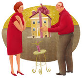 Giving a house. The illustration of the man giving a house with a bow to the woman Royalty Free Stock Photos