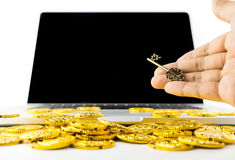 Giving Key for Success and Richness online Stock Images
