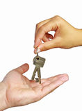 Giving keys to new home Stock Photo