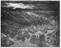 The giving of the Law upon Mt. Sinai. Picture from The Holy Scriptures, Old and New Testaments books collection published in 1885, Stuttgart-Germany. Drawings vector illustration