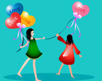 Giving love. Girl giving love to everyone stock illustration